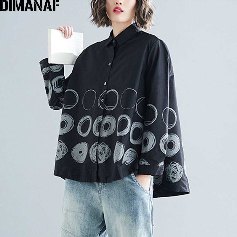 DIMANAF Plus Size Women   Blouse     Shirts   Lady Tops Big Size Female Clothes Loose Casual Long Sleeve Print Polka Dot Cardigan 2019