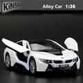 1:36 сплав вытяните назад модель автомобиля, высокая моделирования I8 concept car Toy cars, металл diecasts, игрушечных транспортных средств, бесплатная доставка