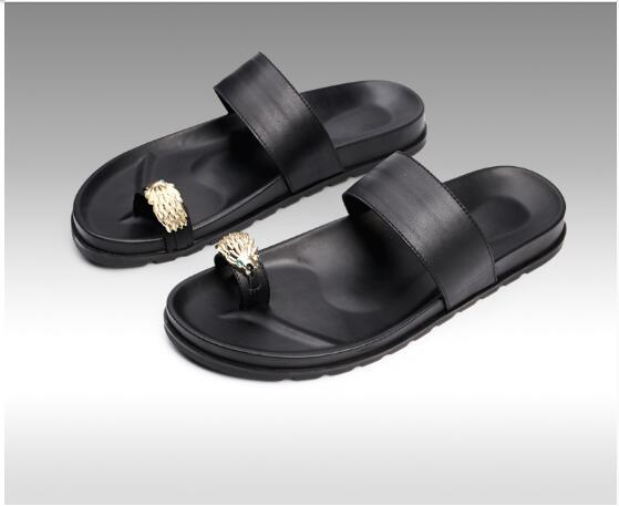 flip flops Toe slipper sandals for men Summer Flat heel Beach Sandals Leather Rome Gladiators Men