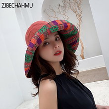 ZJBECHAHMU Fashion Solid Cotton Vintage Sun Hats For Women Girl Summer Caps Sunshade beach hats 2019 New fedoras Accessories