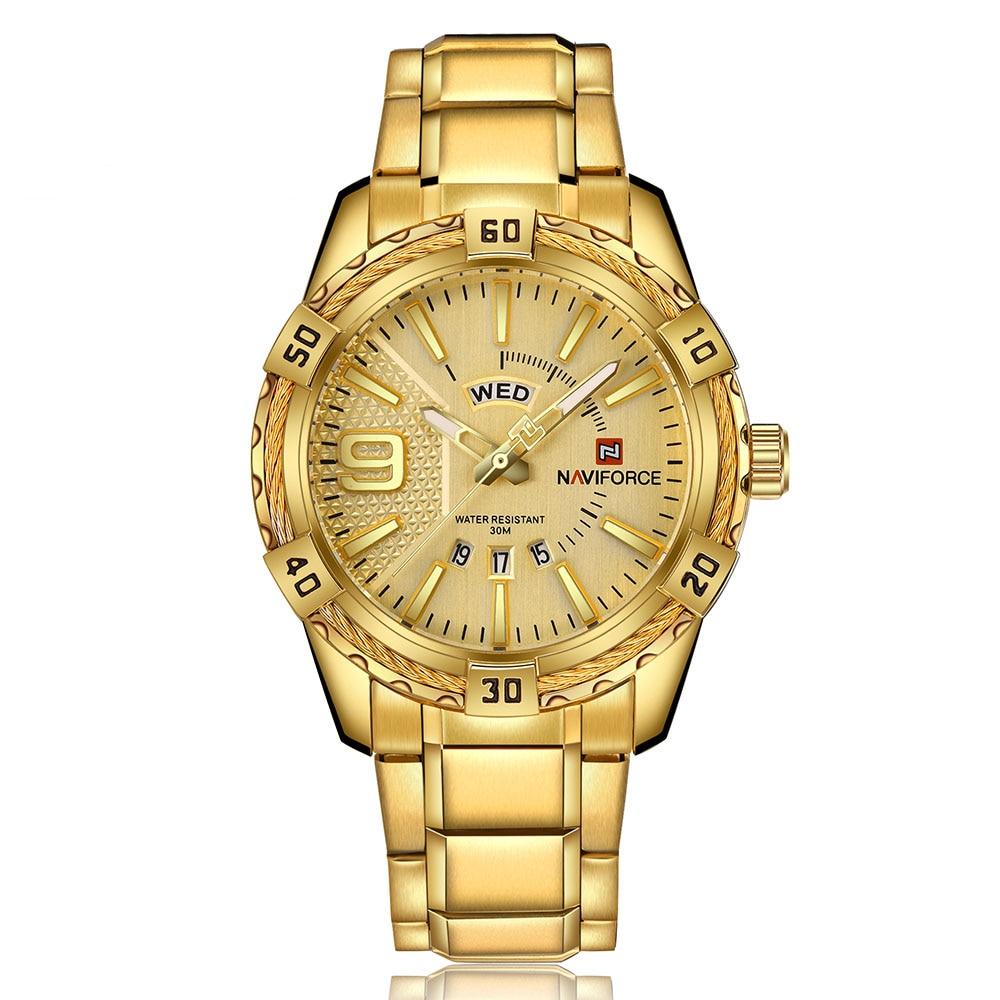 Naviforce mens watches top brand luxury gold steel quartz watch men fashion casual watch clock for Watches brands for men