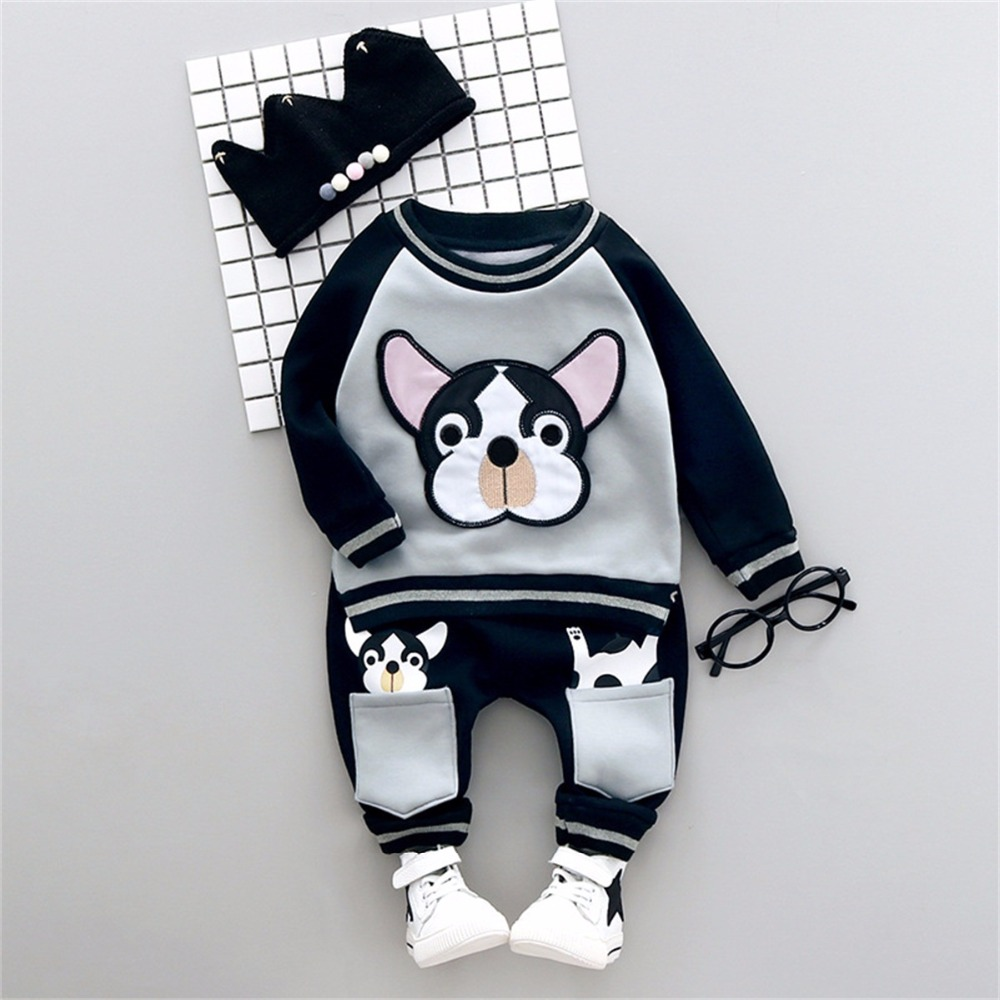 Baby Cartoon Dog Clothes Set Daddy Chen Baby Boy Clothing Set Casual Suit Children Outwear Tops Long Pants 2pcs Newborn Costume baby boy clothes monkey cotton t shirt plaid outwear casual pants newborn boy clothes baby clothing set
