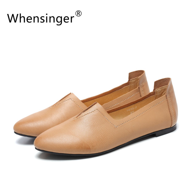 Whensinger - 2016 Spring Autumn Women's Leather Shoes Handmade Art Fan Pointed Flat Shoes Personality Femininos 1038