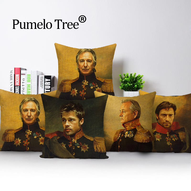 Neoclasstical Paintings Celebrities Bill Murray Will Smith Brad Pitt Cushions Covers Sofa Cushion Cover Linen Cotton Pillow Case