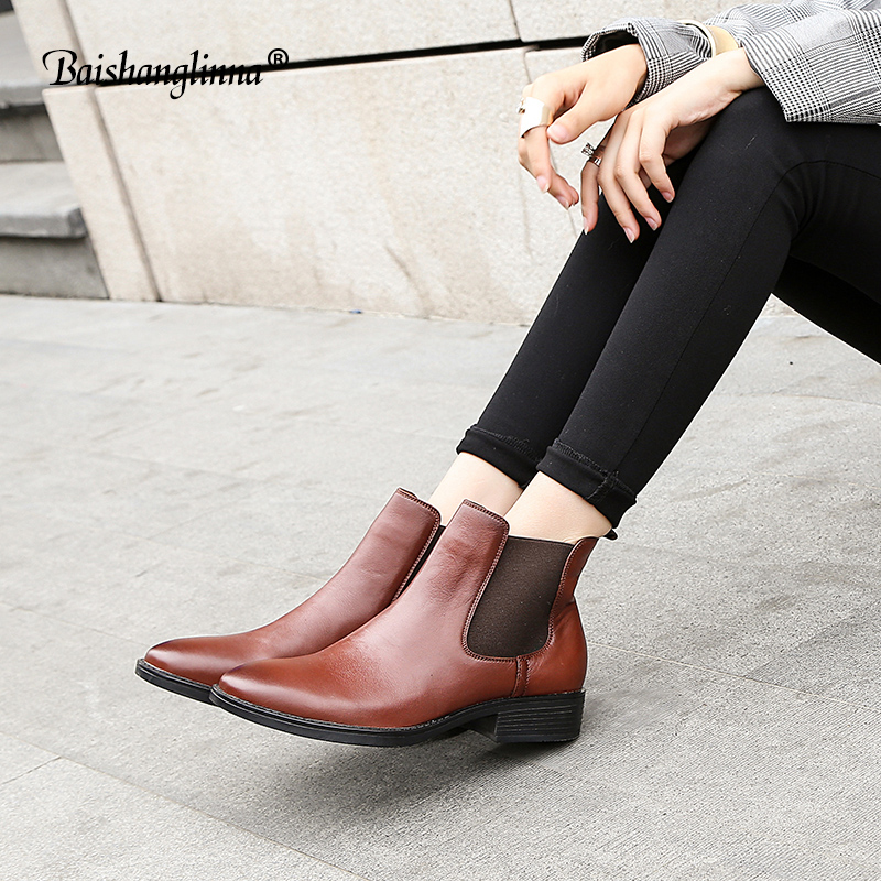 2018 Chelsea Boots Women Top Quality Genuine Leather Brand Calfskin Round Toe Ankle Shoe ...