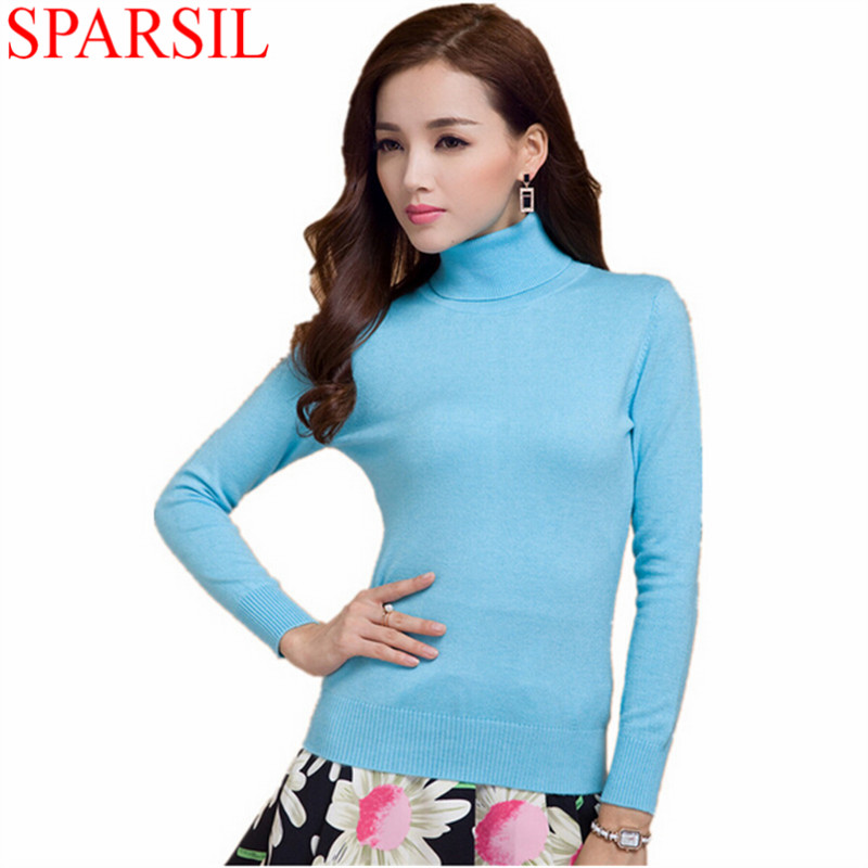 Sparsil Women Winter Turtleneck Cashmere Blend Sweaters Long Sleeve Solid Color Slim Match Comfortable Knitted Pullovers - sparsil Official Store store