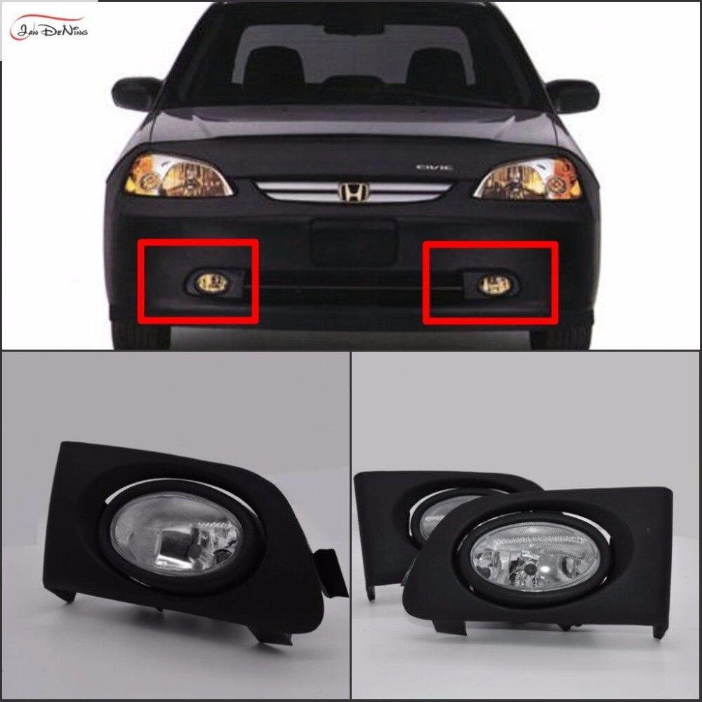 JanDeNing Автомобильные противотуманные фары для Honda Civic 2/4DR 2001 ~ 2003 прозрачные галогеновые лампы: H11 12V 55 Вт передние противотуманные фары бампер