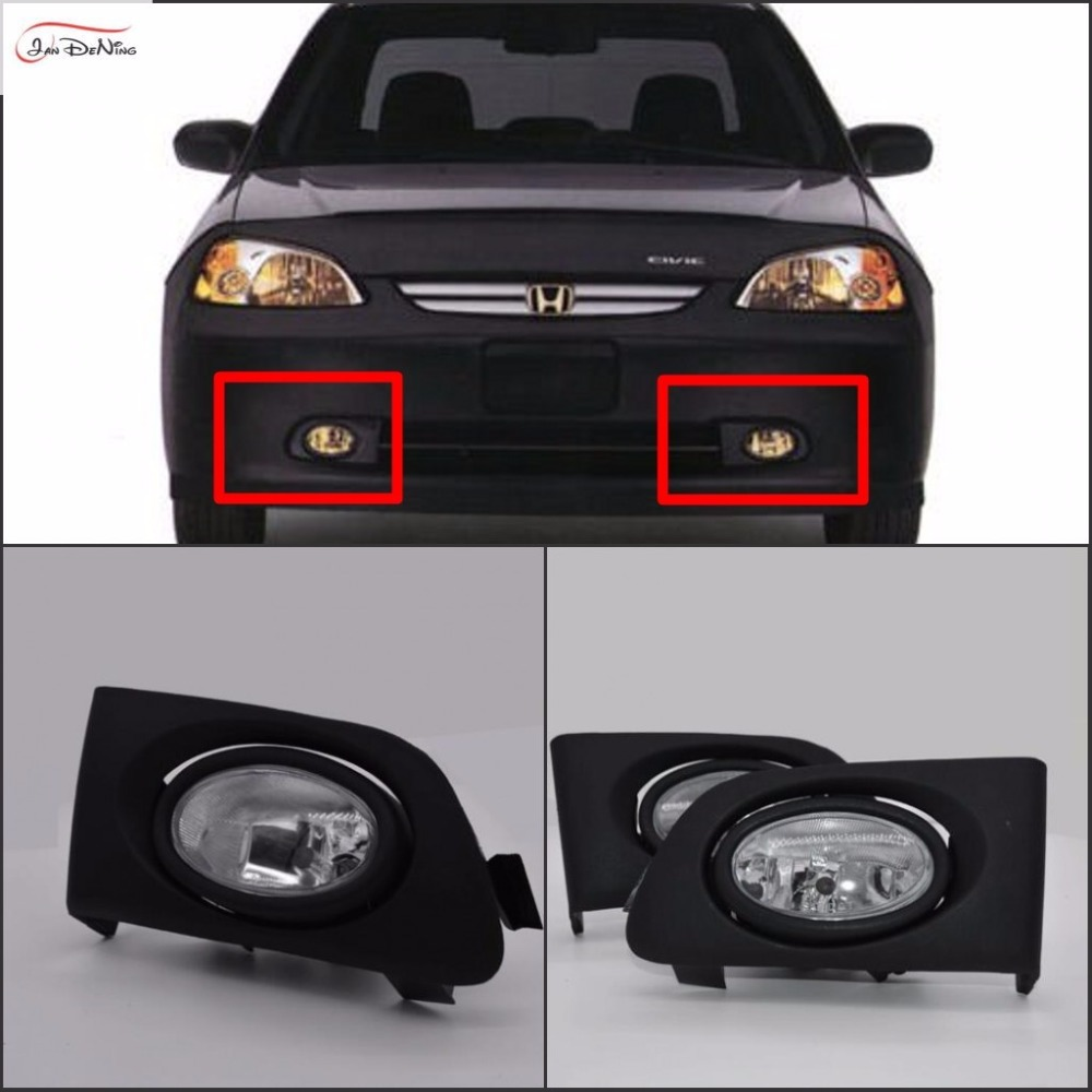JanDeNing Car Fog Lights for Honda Civic 2/4DR 2001~2003 Clear Halogen bulb:H11-12V 55W Front Fog Lights Bumper Lamps Kit car styling halogen fog lights fog lamps for nissan qashqai 2 2007 2012 12v 1set