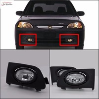 JanDeNing Car Fog Lights For Honda Civic 2 4DR 2001 2003 Clear Halogen Bulb H8 12V