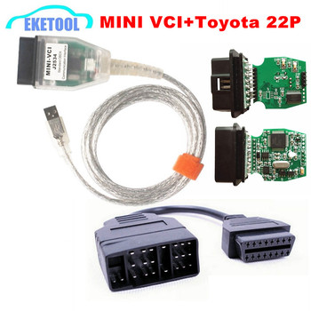 Best Sale MINI VCI V12.00.127 For ToyotaLexusScion TIS Techstream OBD2 USB Cable With OBD Fits Toyota 22PIN to 16PIn MINI