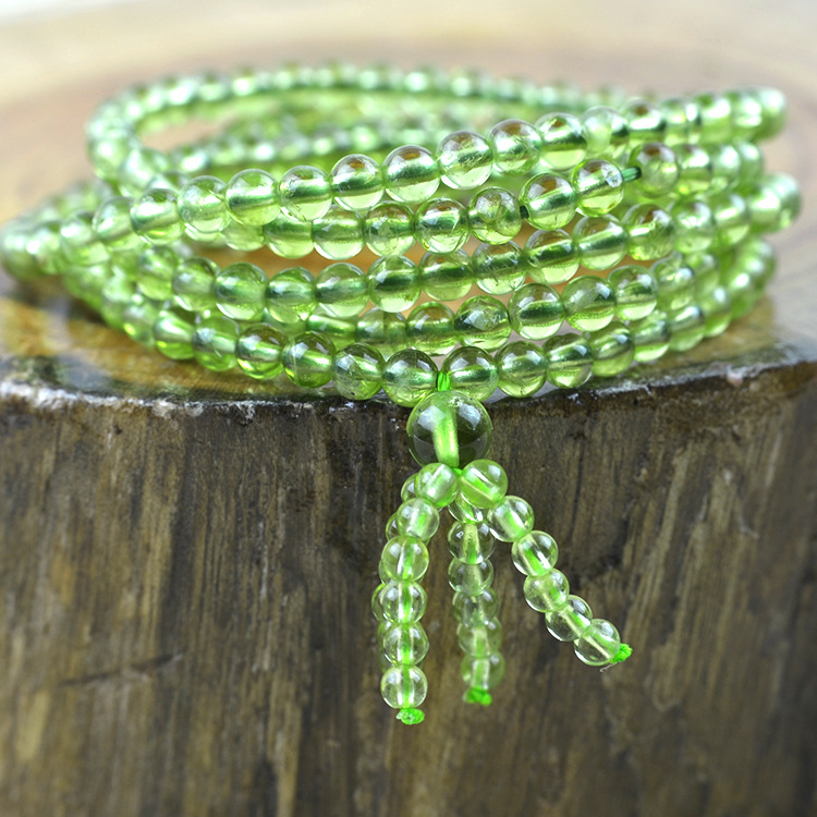 AAA 4mm Natural Olivine beaded Bracelet Tibetan Buddhist Prayer Beads Necklace Gourd mala Prayer Bracelet for Meditation
