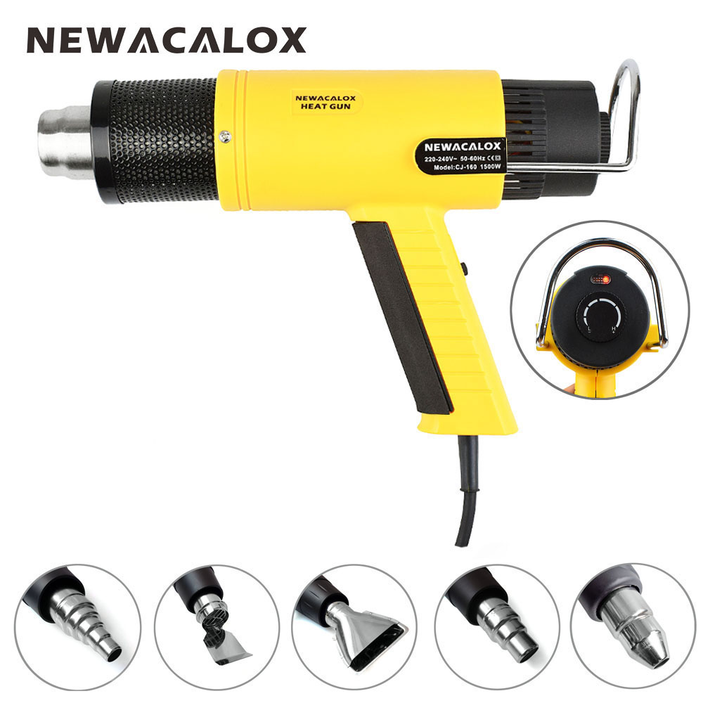 NEWACALOX EU Plug 220V 1500W Industrial Electric Hot Air Gun Thermoregulator Heat Gun + 5 Nozzles Power Heater Thermal Shrinkage цена