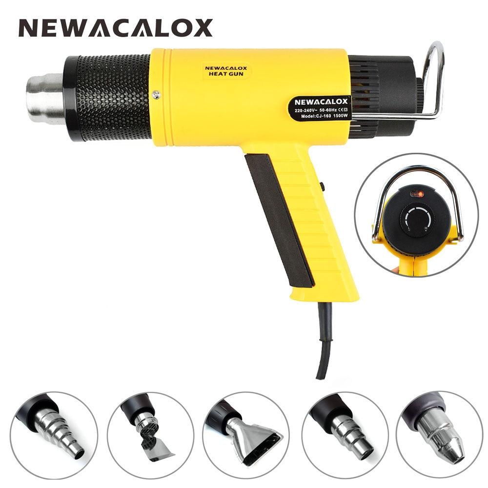 Newacalox ЕС Plug 220 В 1500 Вт промышленный Электрический фена терморегулятор Термофен + 5 насадок Мощность нагреватель Термальность усадку