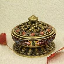 цена на Lotus Flowers Incense Burner Incense Tower Alloy Cloisonne Censer Enamel Painted Buddhist Supplies Buddha Insensario Metal Z290