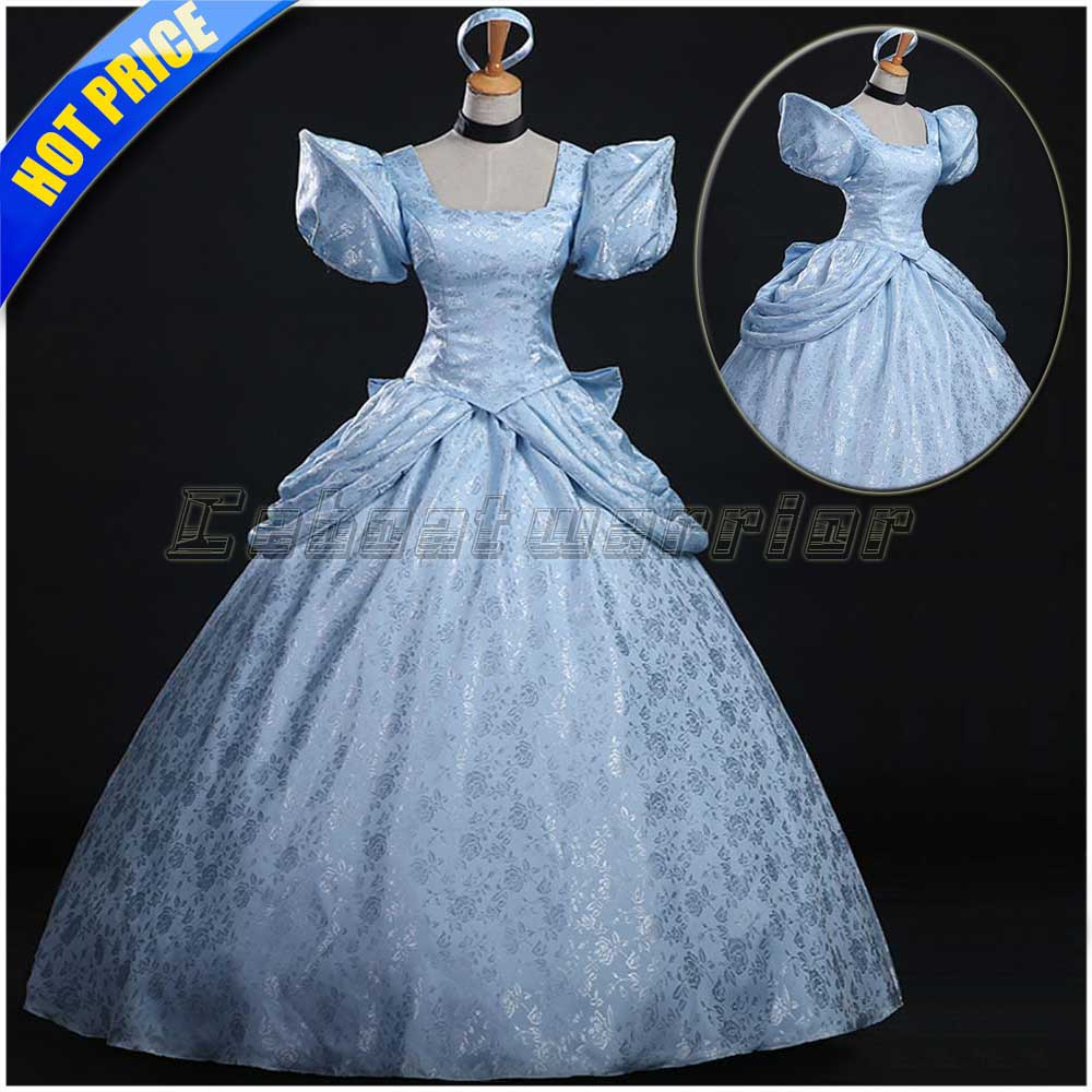 Movie Cinderella cosplay costume  cinderella girl adult blue wedding dress Custom made