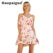 Plus Size Print Floral Mini Beach Dress Women Spaghetti Strap Sexy Club Dress Wear Cloth for Ladies Pink Cute Vacation Dresses charming plus size spaghetti strap floral print bikini suit for women