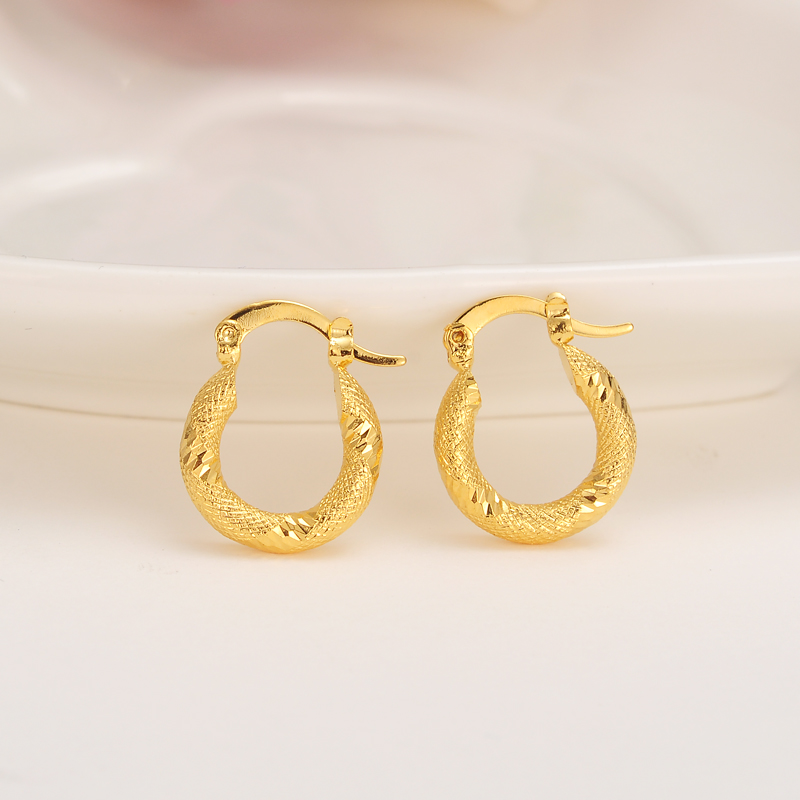 Bangrui Ltalina Vintage Fashion Lucky Gold Color Small round Cute Earrings Womens/Girls lot Bohemia Wedding Party Jewelry