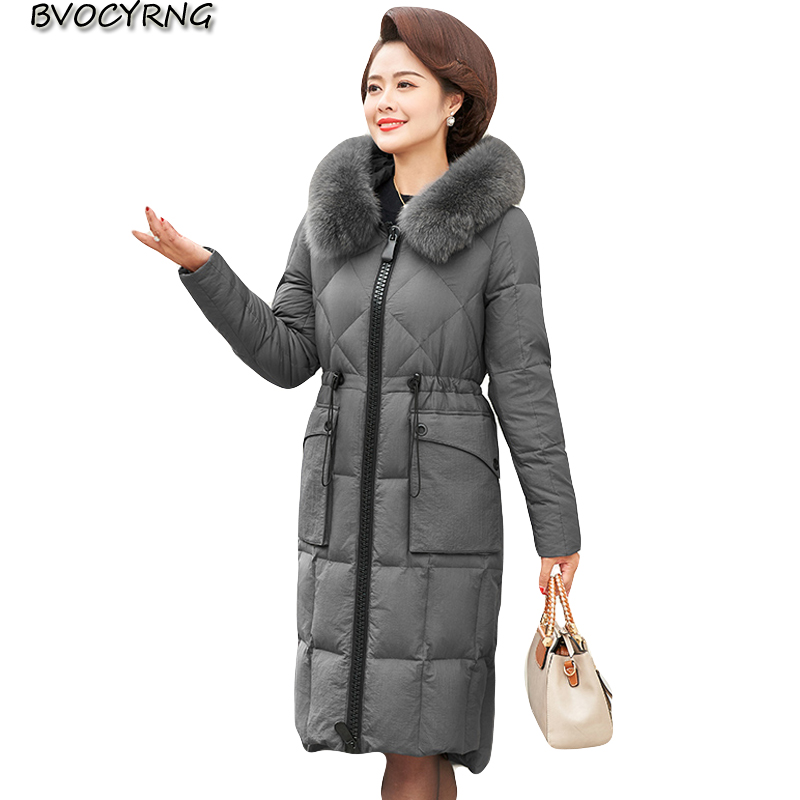 New Winter Women   down     coat   2018 fashion Plus size women mid-long   coats   High-end fur collar hooded warm female   down   jacket A1050