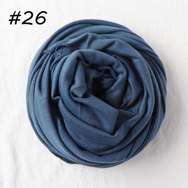 Один кусок хиджаб шарф Макси шали шарфы женские мусульманские хиджабы мусульманская леди палантин splid однотонное Джерси хиджаб 70x160 см - Цвет: 26 jeans blue
