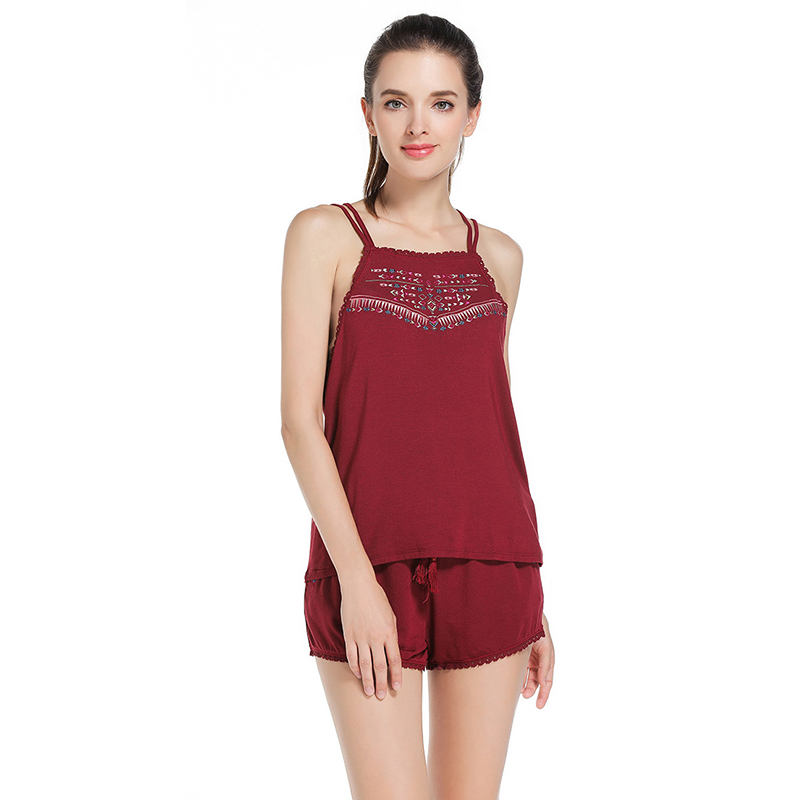 Summer sexy   pajamas   women embroidered strap tops+shorts home suit night sleepwear modal   pajamas     set   female