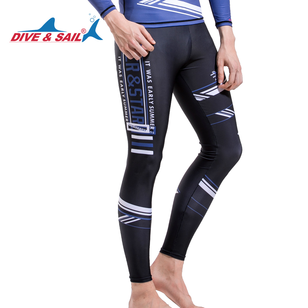 DIVE&SAIL Men Lycra Rushguard UPF50+ Anti-UV Diving Skin Drifting Surfing Pants Quick-dry Swimwear Beachwear GYM Yoga Trousers