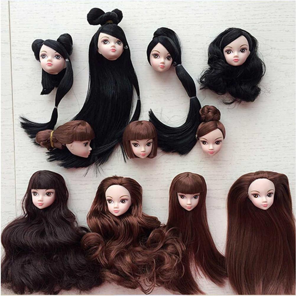 Nouveauté bricolage accessoires pour fille poupée pour 1/6 BJD maison de poupée de haute qualité 2018 enfants jouet poupée tête avec noir brun cheveux