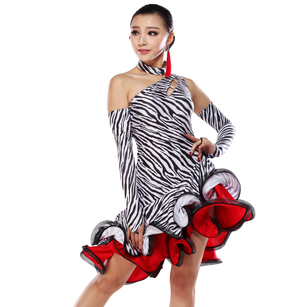 dafa86de2 New Leopard Latin dance dress inclined shoulder stripes ...