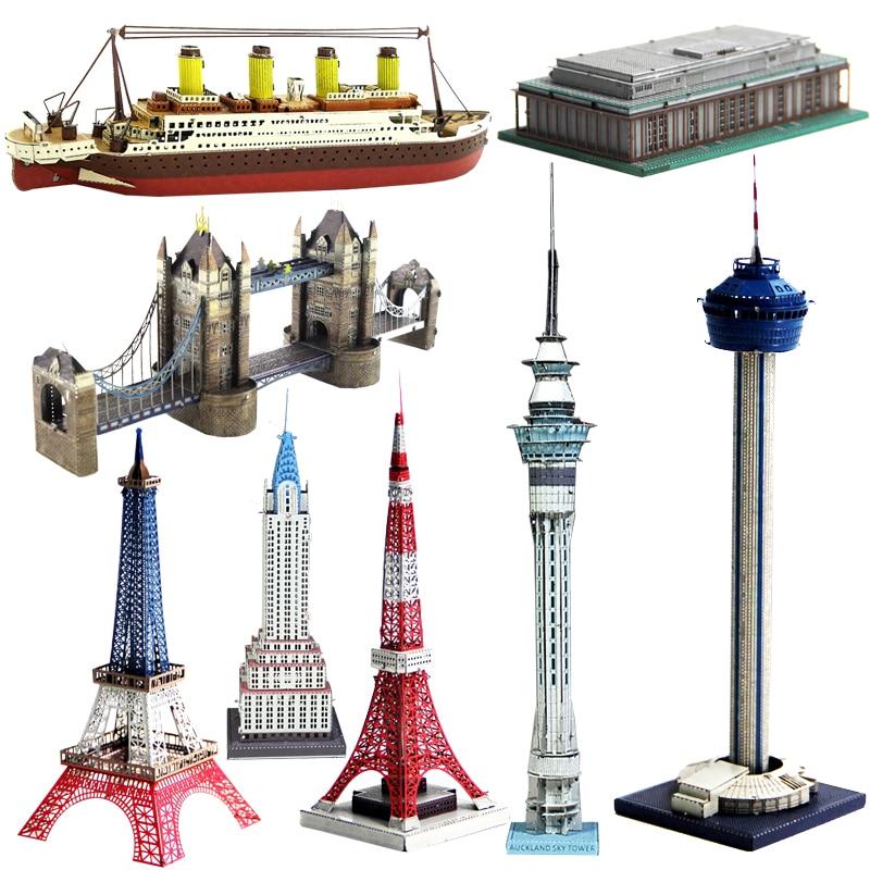 3D Metal Model Puzzle Construction Series Colorful Titanic/Eiffel Tower/FERRIS WHEEL/SUNDIAL BRIDGE/BROOKLYN BRIDGE Adult Toys