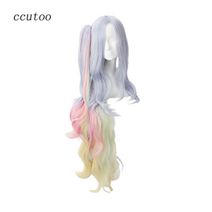 ccutoo No Game No Life Shiro 120cm Blue Pink Yellow Mix Long Curly Synthetic Cosplay Full Wigs Hair With Chip Ponytail(China)