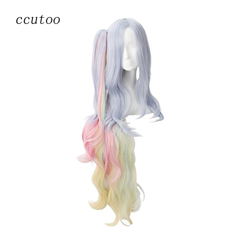 ccutoo No Game No Life Shiro 120cm Blue Pink Yellow Mix Long Curly Synthetic Cosplay Full Wigs Hair With Chip Ponytail
