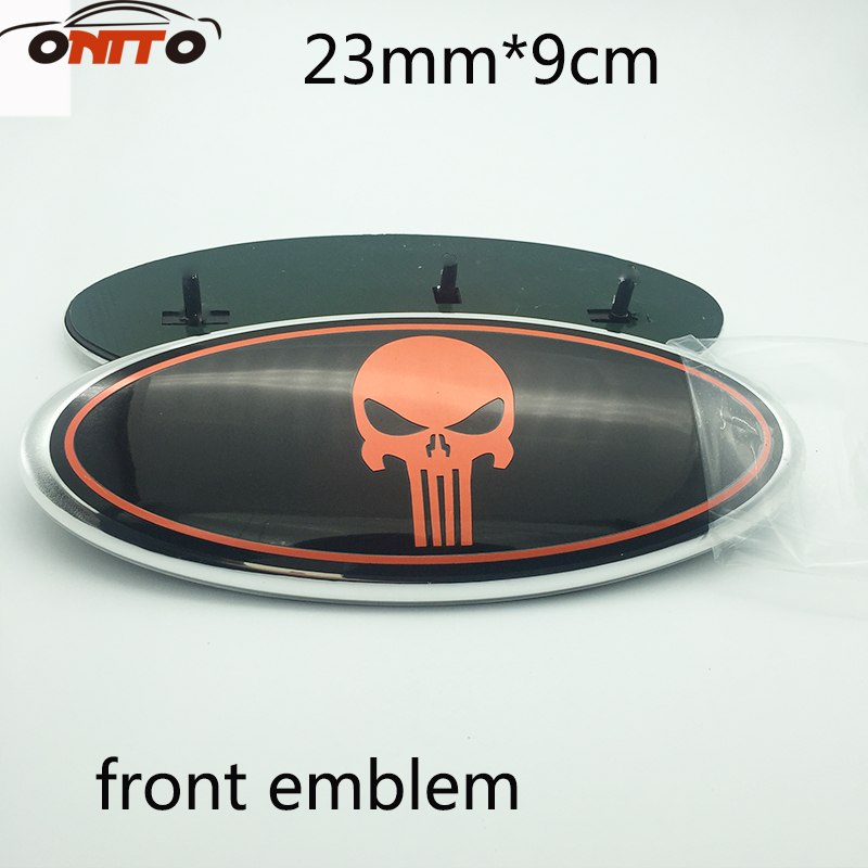 Car Styling 10pcs 23mmX23mm red skull Front Grille Tailgate Rear Boot Emblem Badge for ford new auto car super bee for charger srt8 front grill grille emblem badge 02