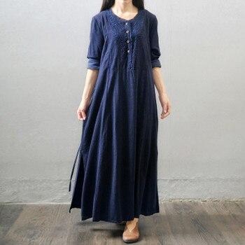 9c6b804e2325b 2019 Sonbahar Kış Kadın Vintage Vestido Rahat Gevşek Maxi uzun elbise Pamuk  Keten Uzun Kollu Katı Bayan Giyim Artı Boyutu