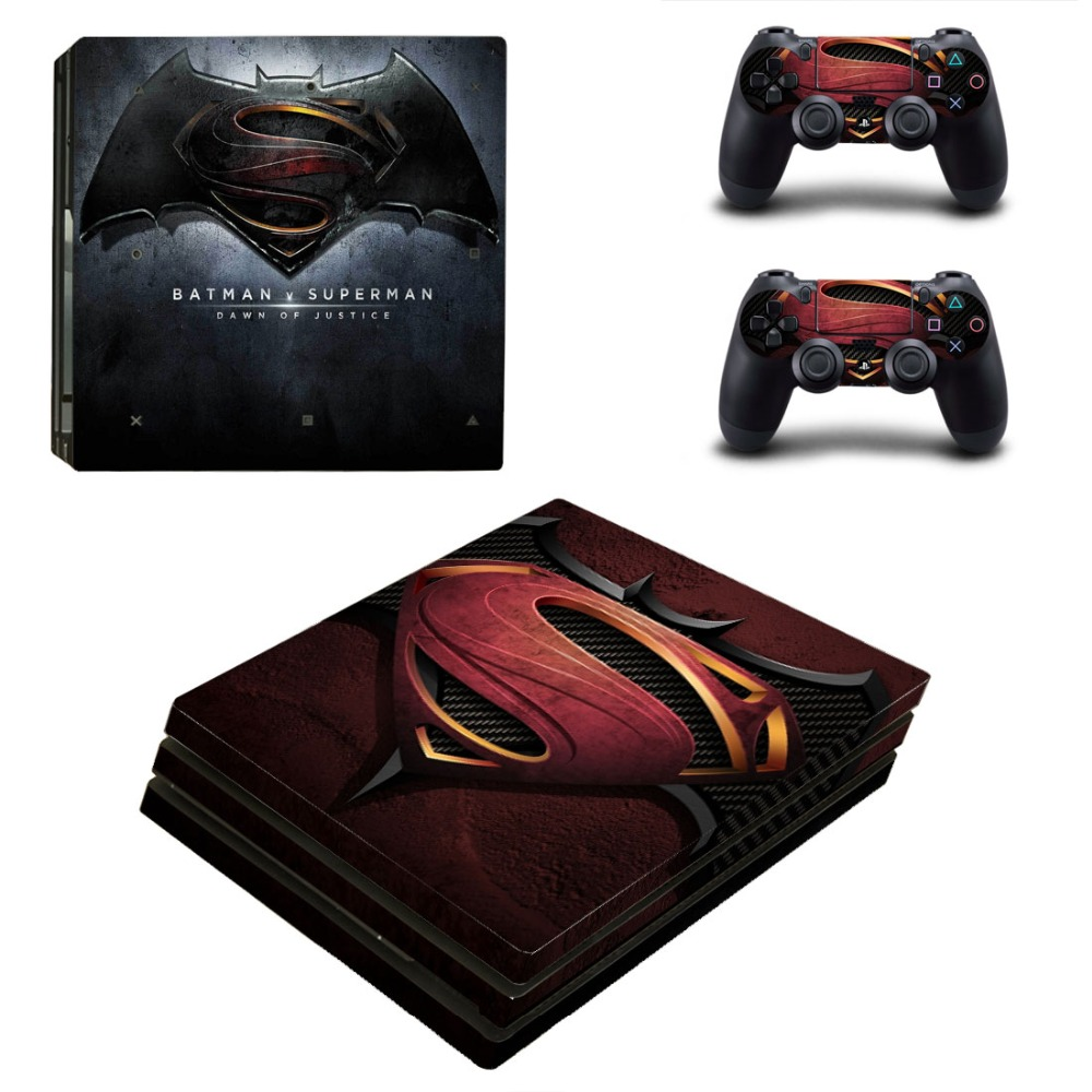 PS4 PRO Batman V Superman for Playstation 4 PRO Console Skin Decal Sticker + 2 Controller Skins Set (Pro Only)