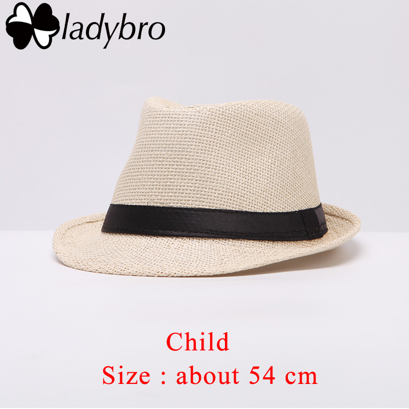 13437a77b Ladybro Women Sun Hat For Men Hat Kids Summer Beach Hat Child Cap Female  Panama Straw Hat Male Gangster Trilby Sun Visor Cap Boy
