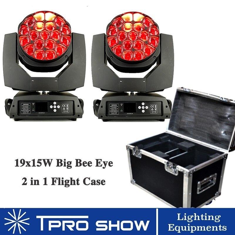 19x15W Big Bee Eye LED Moving Head Lyre Beam Professional Lighting 2 Pixel Control Beam Zoom Effect Disco Lighting 1 Flight Case