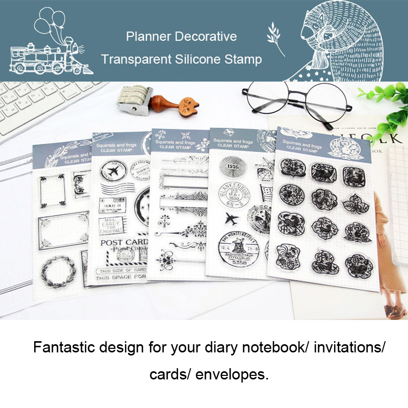 Fromthenon Notebook Decorative Transparent Silicone Stamp clear seal stamps Planner diary book scrapbook DIY Kawaii stationery