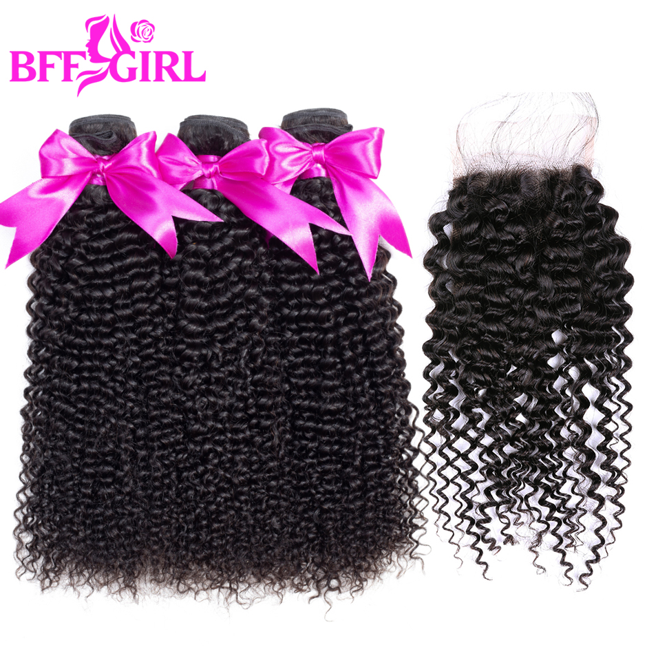 BFF GIRL Brazilian Kinky Curly Hair Weave 3 Bundles With Closure Human Hair Bundles With Closure 4*4 Non Remy Hair Extensions