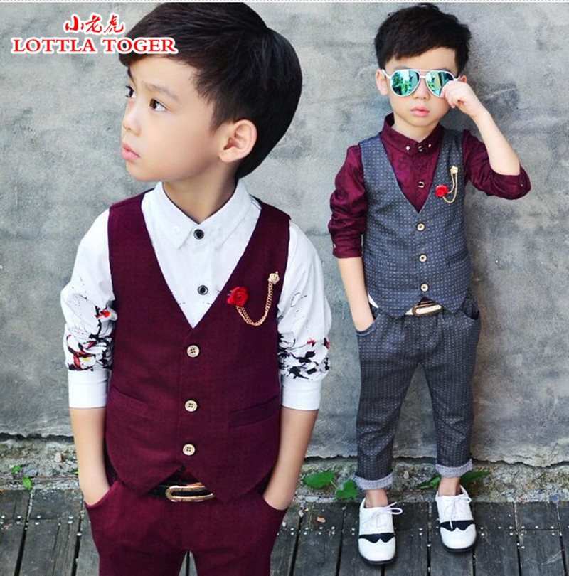 2016 High Fashion Boy Clothes Suit Kid 2 Pcs Dotted Waistcoat + Pants Children Spring & Autumn Formal Clothing Set For Wedding kimocat boy and girl high quality spring autumn children s cowboy suit version of the big boy cherry embroidery jeans two suits