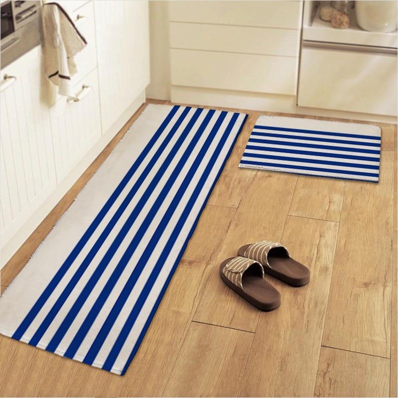 blue white striped kitchen floor mats area rug plush anti