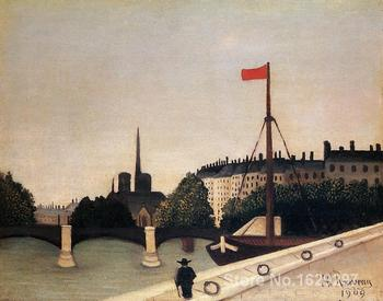 Modern painting on canvas Notre Dame View of the Ile Saint Louis from the Quai Henri IV Henri Rousseau High quality Hand painted