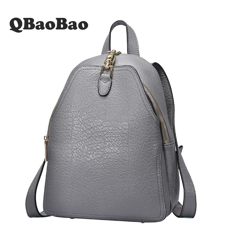 High Quality Women Backpack Genuine Leather Travel Bag Teenager Girls Student School Bags Female Fashion Backpack