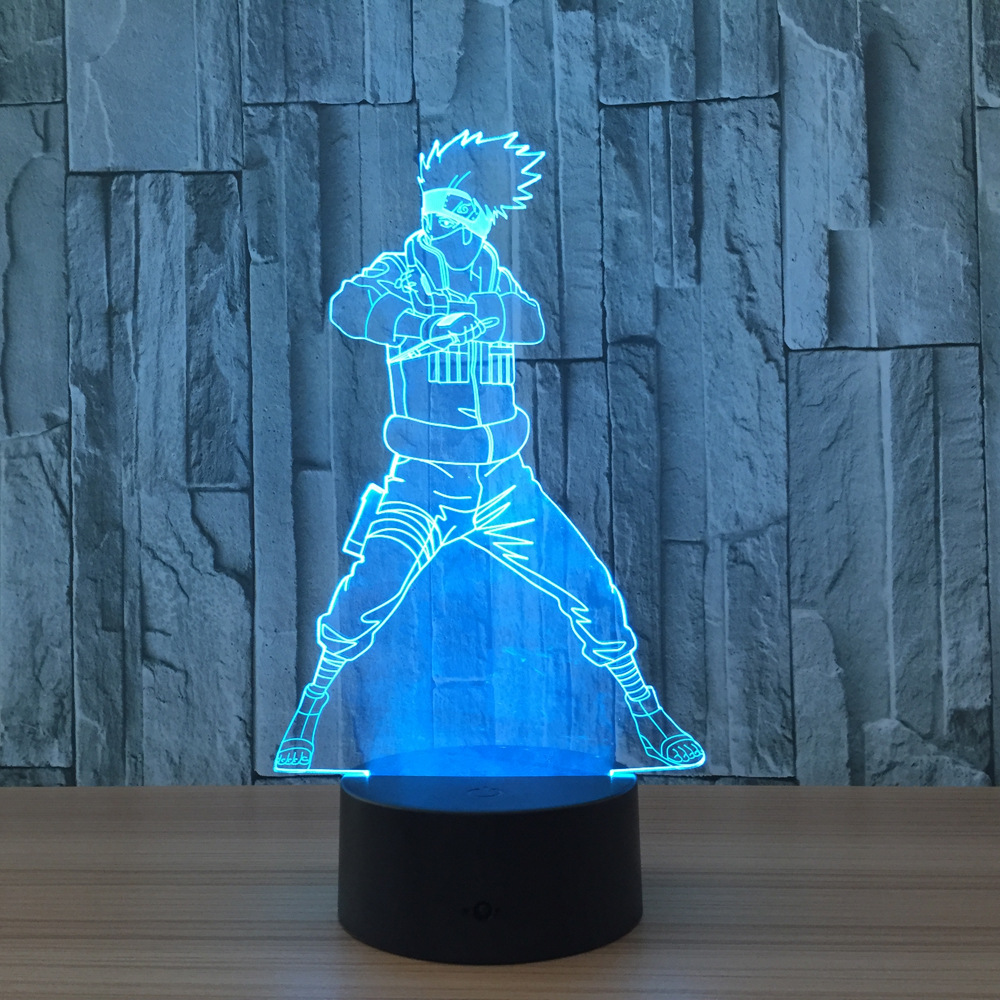 Naruto <font><b>Action</b></font> Figure Kakashi 3D LED Night Light Table Lamp 3D Novelty Nightlight Decoration for Child Gift