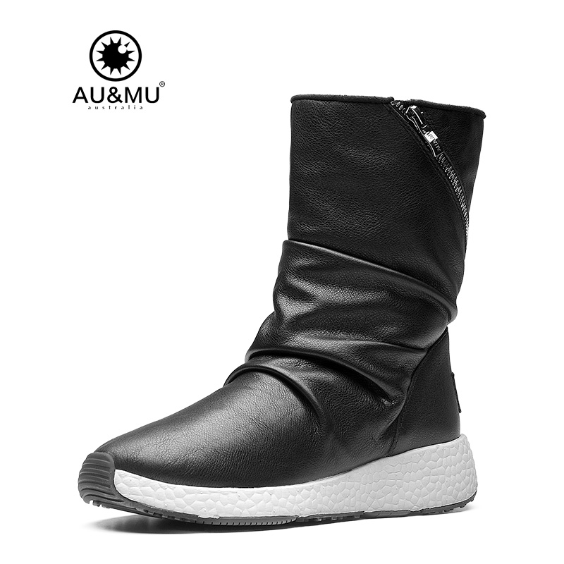 2017 AUMU Australia Women Fashion Waterproof Sheepskin Leather Fur Zppier Suede Mid Calf Winter Snow Boots UG NY511 2018 aumu australia brand new leather
