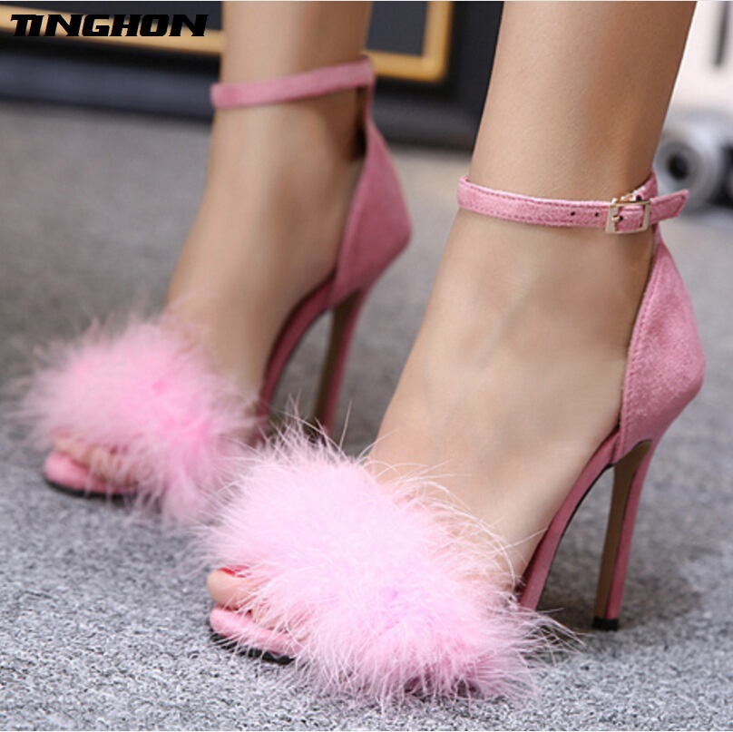 TINGHON NEW Sexy Fashion Gladiator Woman Sandals Summer Feather style Peep Toe Stiletto High Heels Shoes 35-43