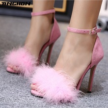 TINGHON NEW Sexy Fashion Gladiator Woman Sandals Summer Feather style Peep Toe Stiletto High Heels Shoes Sandals 35-43 цены онлайн