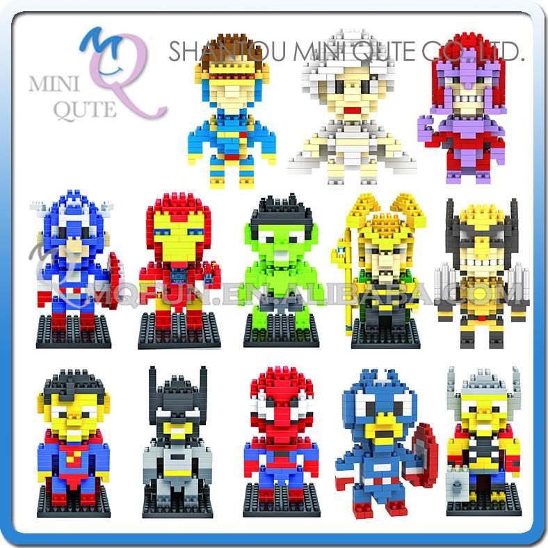 Mini Qute WTOYW LOZ Marvel super hero The Avengers Captain America X-Men diamond plastic building blocks educational toy