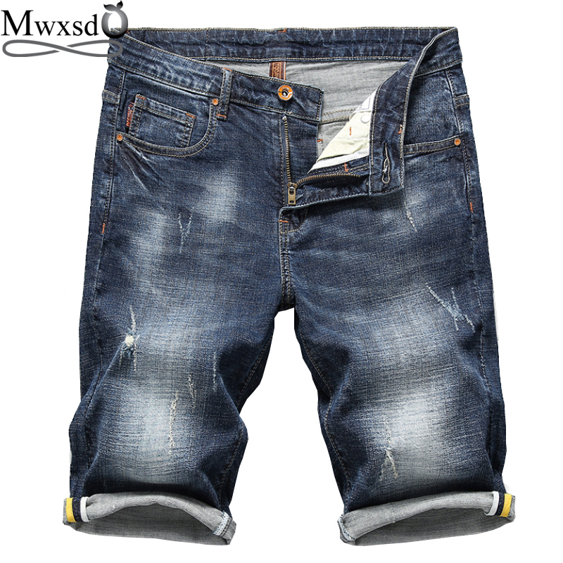 Mwxsd Brand Summer Mens Denim Hole Shorts Men Cotton Casual Jean Shorts Male Retro Nostalgia Denim Bermuda Short For Man