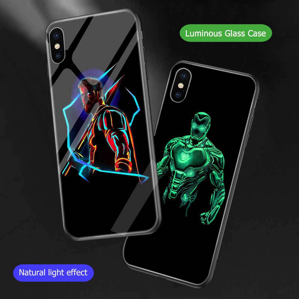 ciciber Marvel DC The Avengers Spiderman Luminous Cover Cases For iPhone X Xs Max XR Night Glowing Glass Shell For 7 8 6 6s Plus