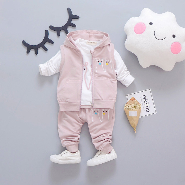 Baby Girls/Boys Spring New Casual Clothing Sets Children  Cotton Long Sleeve Shirt + Pants+ vest 3 pcs/set