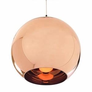 Image 2 - LukLoy الحديثة نمط مرآة كرة زجاجية قلادة أضواء النحاس اللون غلوب مصباح متدلٍ تركيبات الإضاءة الحديثة 1piece